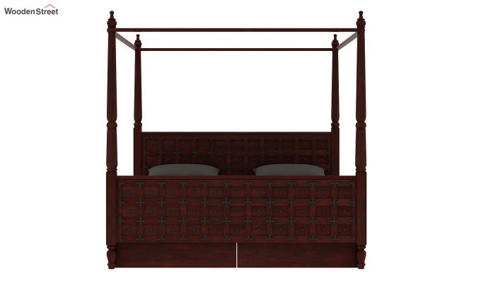 Citadel Poster Bed With Storage (Queen Size, Mahogany Finish)-5