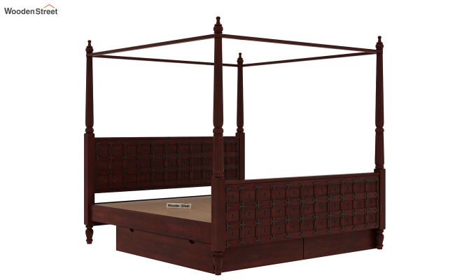 Citadel Poster Bed With Storage (Queen Size, Mahogany Finish)-6