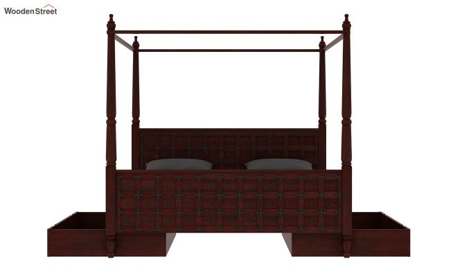 Citadel Poster Bed With Storage (Queen Size, Mahogany Finish)-8