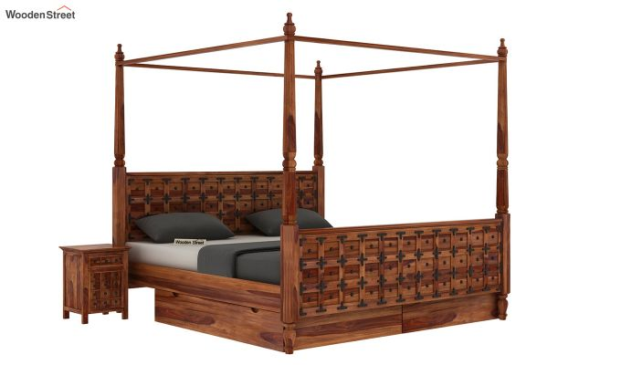 Citadel Poster Bed With Storage (Queen Size, Teak Finish)-2