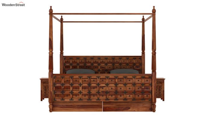 Citadel Poster Bed With Storage (Queen Size, Teak Finish)-3