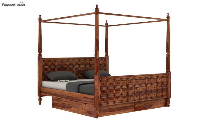 Citadel Poster Bed With Storage (Queen Size, Teak Finish)-4