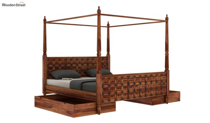 Citadel Poster Bed With Storage (Queen Size, Teak Finish)-7