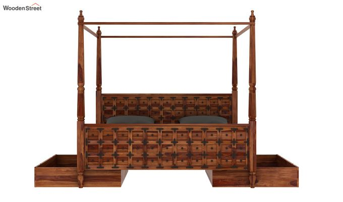 Citadel Poster Bed With Storage (Queen Size, Teak Finish)-8