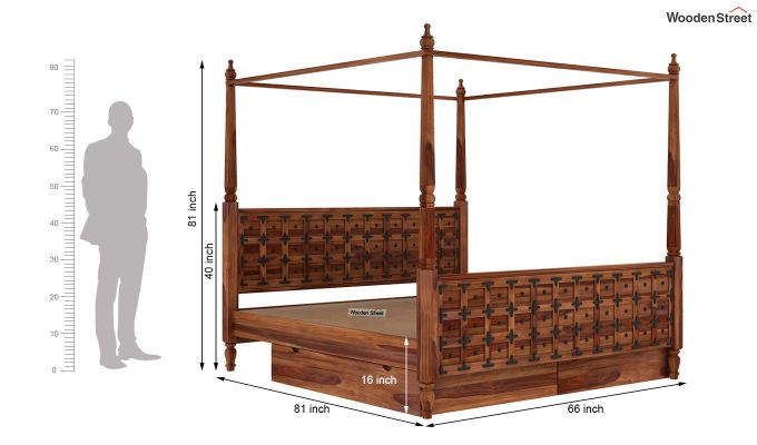 Citadel Poster Bed With Storage (Queen Size, Teak Finish)-9