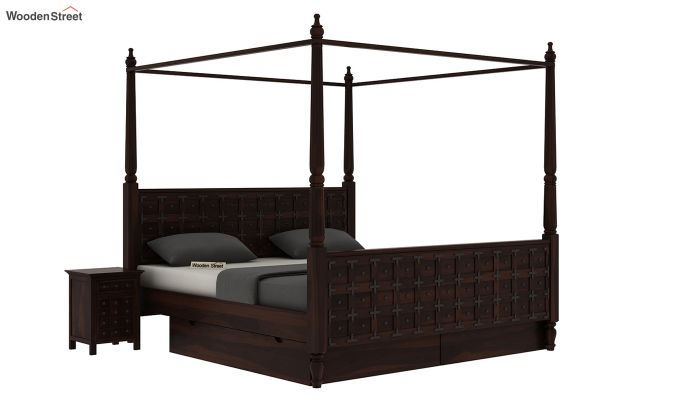 Citadel Poster Bed With Storage (Queen Size, Walnut Finish)-2