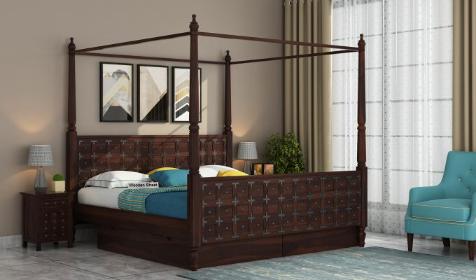 Citadel Poster Bed With Storage (Queen Size, Walnut Finish)-1