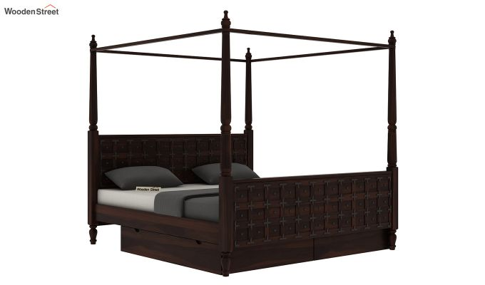 Citadel Poster Bed With Storage (Queen Size, Walnut Finish)-4