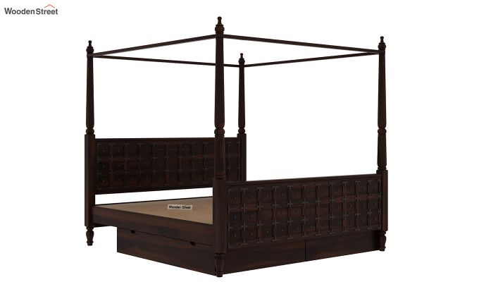 Citadel Poster Bed With Storage (Queen Size, Walnut Finish)-6