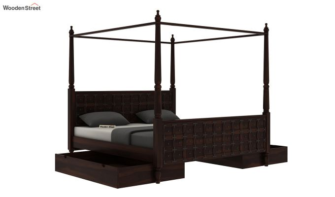 Citadel Poster Bed With Storage (Queen Size, Walnut Finish)-7