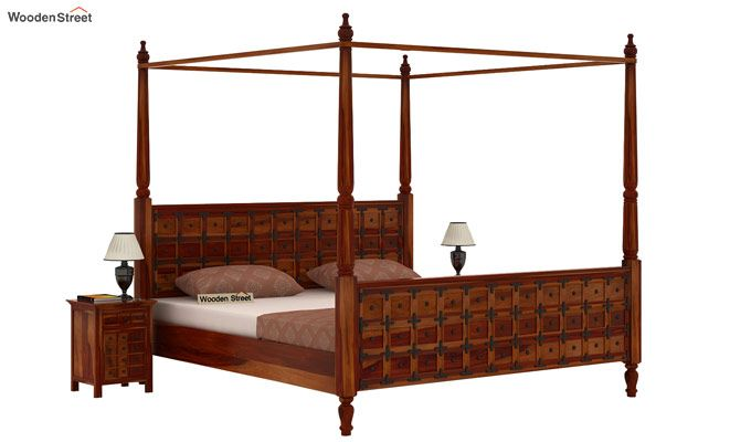 Citadel Poster Bed Without Storage (King Size, Honey Finish)-1