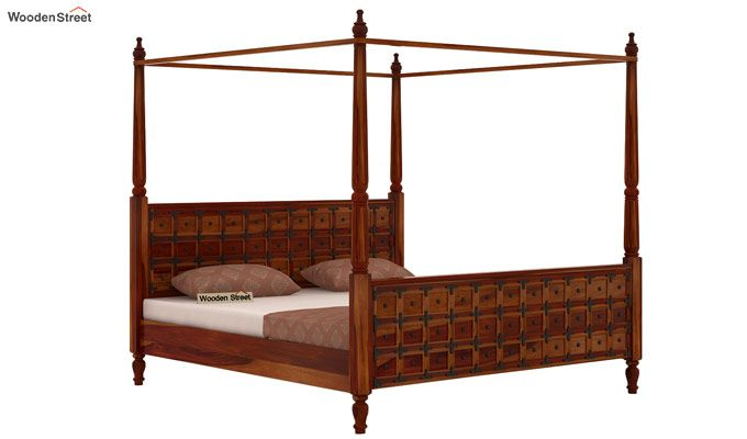 Citadel Poster Bed Without Storage (Queen Size, Honey Finish)-3