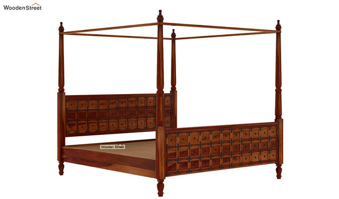 Citadel Poster Bed Without Storage (Queen Size, Honey Finish)-5