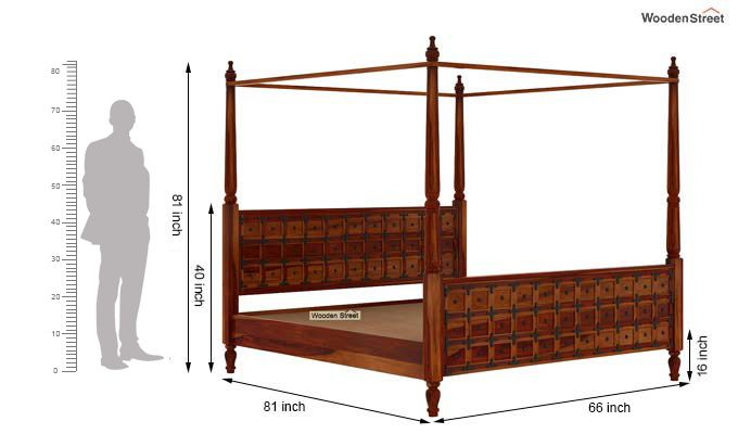 Citadel Poster Bed Without Storage (Queen Size, Honey Finish)-6