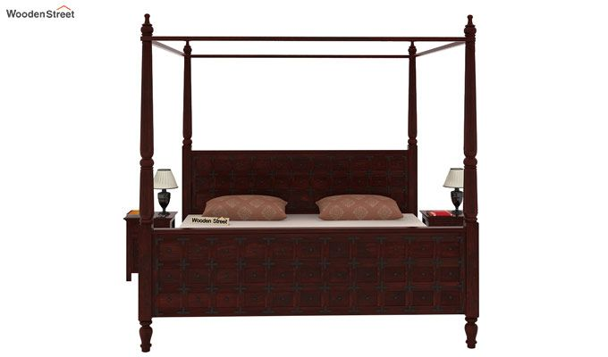 Citadel Poster Bed Without Storage (Queen Size, Mahogany Finish)-2