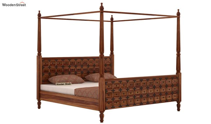 Citadel Poster Bed Without Storage (Queen Size, Teak Finish)-3