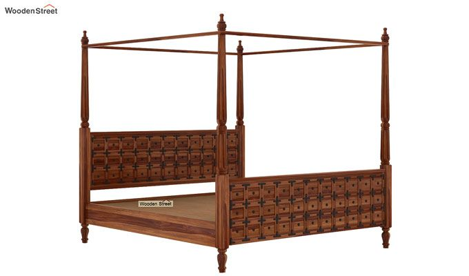 Citadel Poster Bed Without Storage (Queen Size, Teak Finish)-5