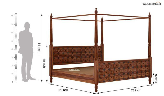 Citadel Poster Bed Without Storage (King Size, Teak Finish)-6