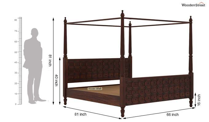 Citadel Poster Bed Without Storage (Queen Size, Walnut Finish)-7