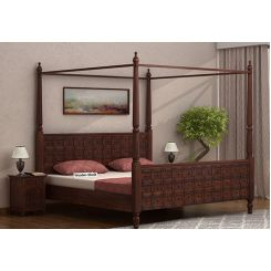 Citadel Poster Bed Without Storage (Queen Size, Walnut Finish)