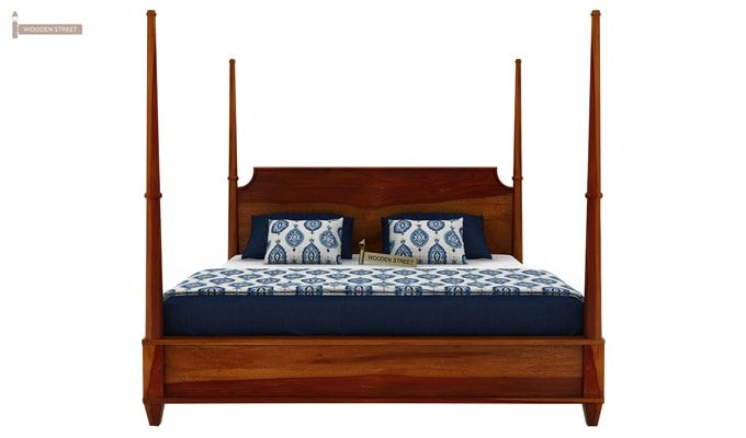 Corsey Poster Bed Without Storage (Queen Size, Honey Finish)-5