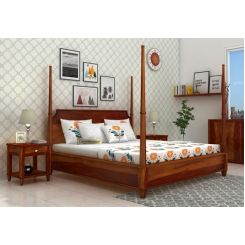 Corsey Poster Bed Without Storage (Queen Size, Honey Finish)