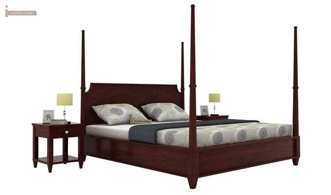 Corsey Poster Bed Without Storage (Queen Size, Mahogany Finish)-2