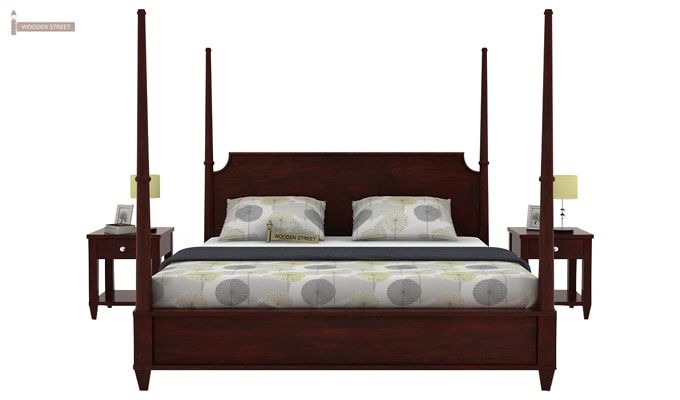 Corsey Poster Bed Without Storage (Queen Size, Mahogany Finish)-1