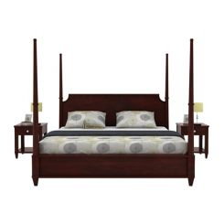 Corsey Poster Bed Without Storage (Queen Size, Mahogany Finish)