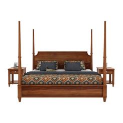 Corsey Poster Bed Without Storage (King Size, Teak Finish)