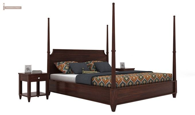 Corsey Poster Bed Without Storage (King Size, Walnut Finish)-2