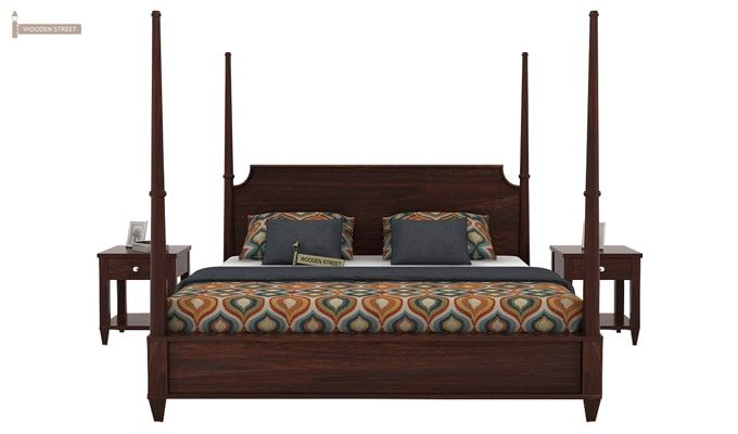 Corsey Poster Bed Without Storage (King Size, Walnut Finish)-1