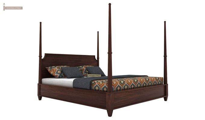 Corsey Poster Bed Without Storage (King Size, Walnut Finish)-3
