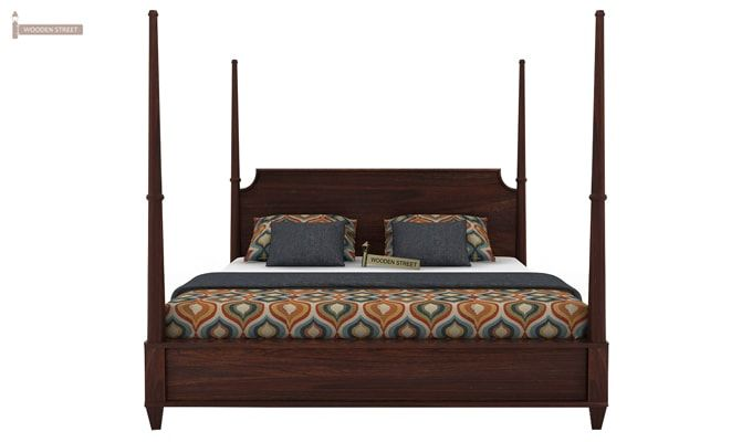 Corsey Poster Bed Without Storage (King Size, Walnut Finish)-4