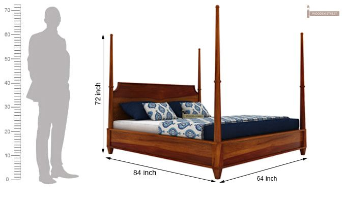 Corsey Poster Bed Without Storage (Queen Size, Honey Finish)-7