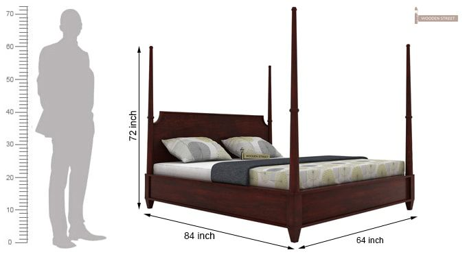 Corsey Poster Bed Without Storage (Queen Size, Mahogany Finish)-5