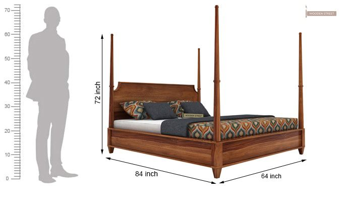 Corsey Poster Bed Without Storage (Queen Size, Teak Finish)-6