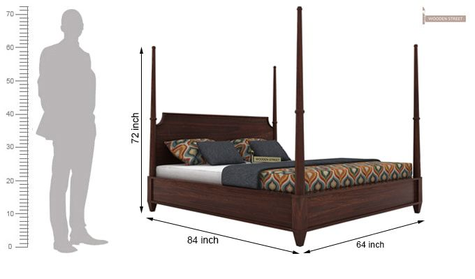 Corsey Poster Bed Without Storage (Queen Size, Walnut Finish)-6