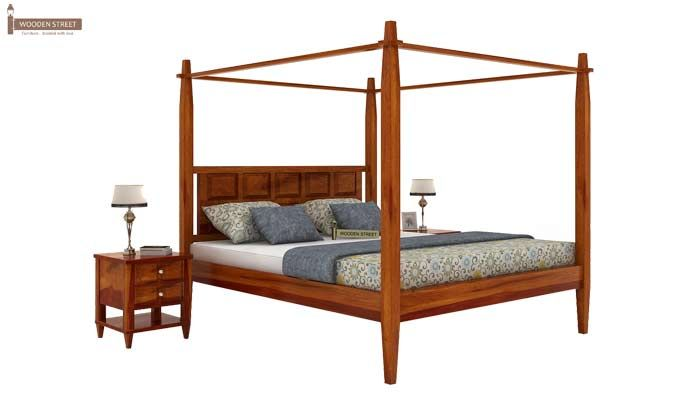Garret Poster Bed Without Storage (King Size, Honey Finish)-2