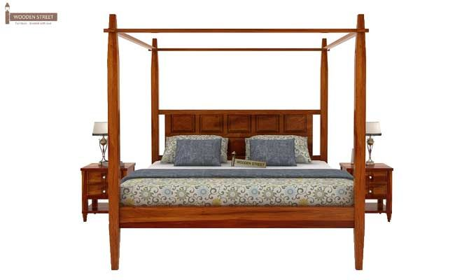 Garret Poster Bed Without Storage (King Size, Honey Finish)-3