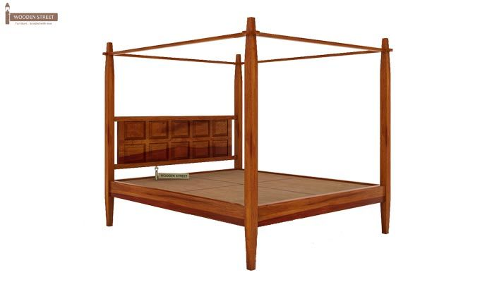 Garret Poster Bed Without Storage (King Size, Honey Finish)-4
