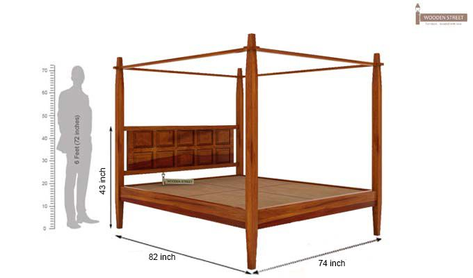 Garret Poster Bed Without Storage (King Size, Honey Finish)-5