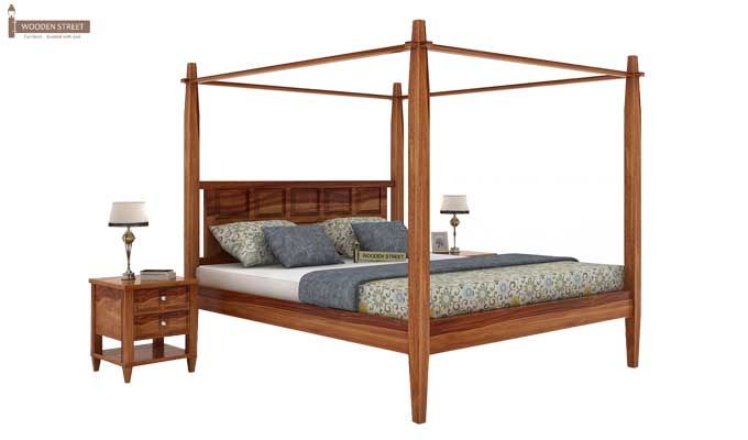 Garret Poster Bed Without Storage (King Size, Teak Finish)-1