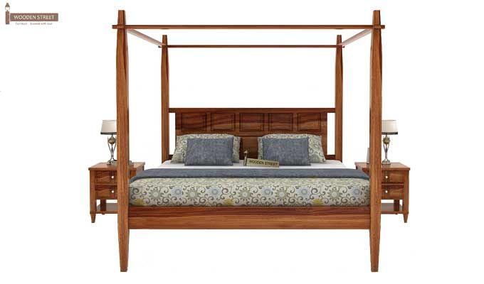 Garret Poster Bed Without Storage (King Size, Teak Finish)-2