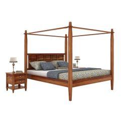 Garret Poster Bed Without Storage (King Size, Teak Finish)