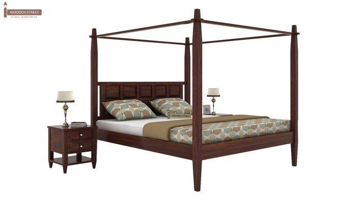 Garret Poster Bed Without Storage (King Size,Walnut Finish)-1