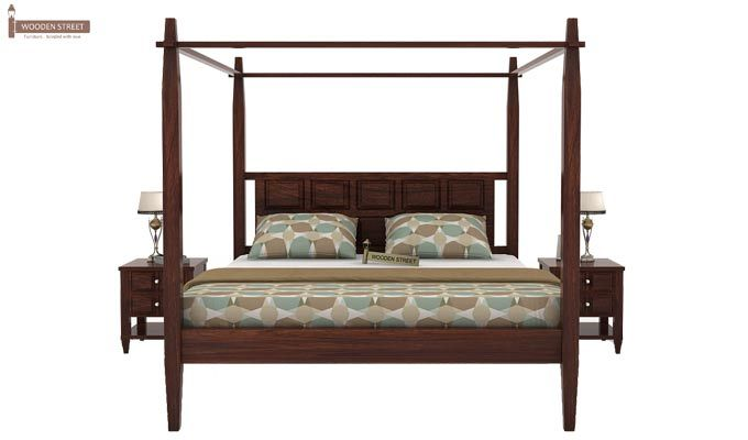 Garret Poster Bed Without Storage (King Size,Walnut Finish)-2
