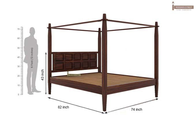 Garret Poster Bed Without Storage (King Size,Walnut Finish)-6