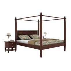 Garret Poster Bed Without Storage (King Size,Walnut Finish)