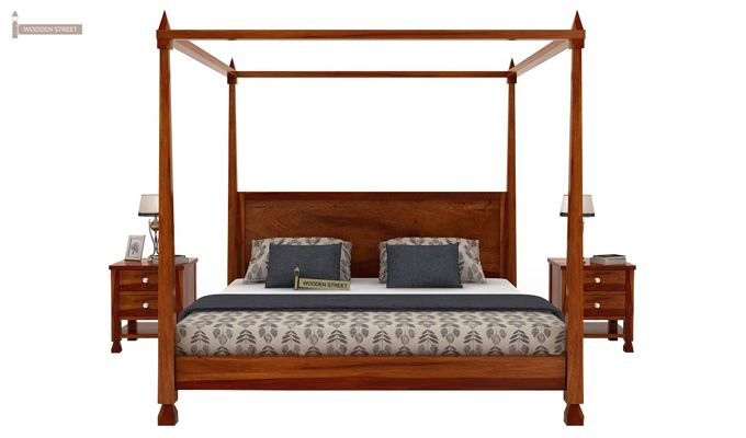 Kayur Poster Bed Without Storage (Queen Size, Honey Finish)-3